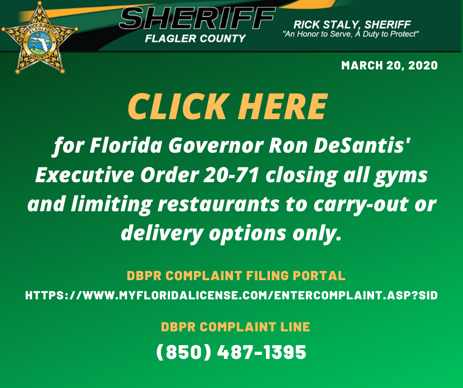 Executive Order - Restaurants and Gyms