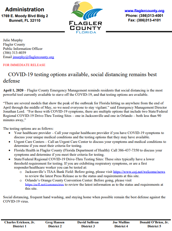 COVID-19 testing options available, social distancing remains best defense