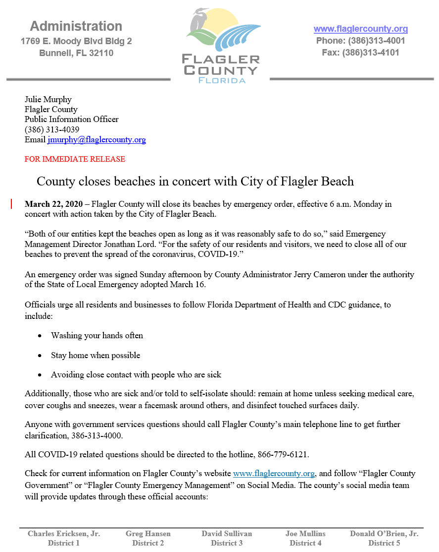 Flagler County Beaches to Close 3.23.2020