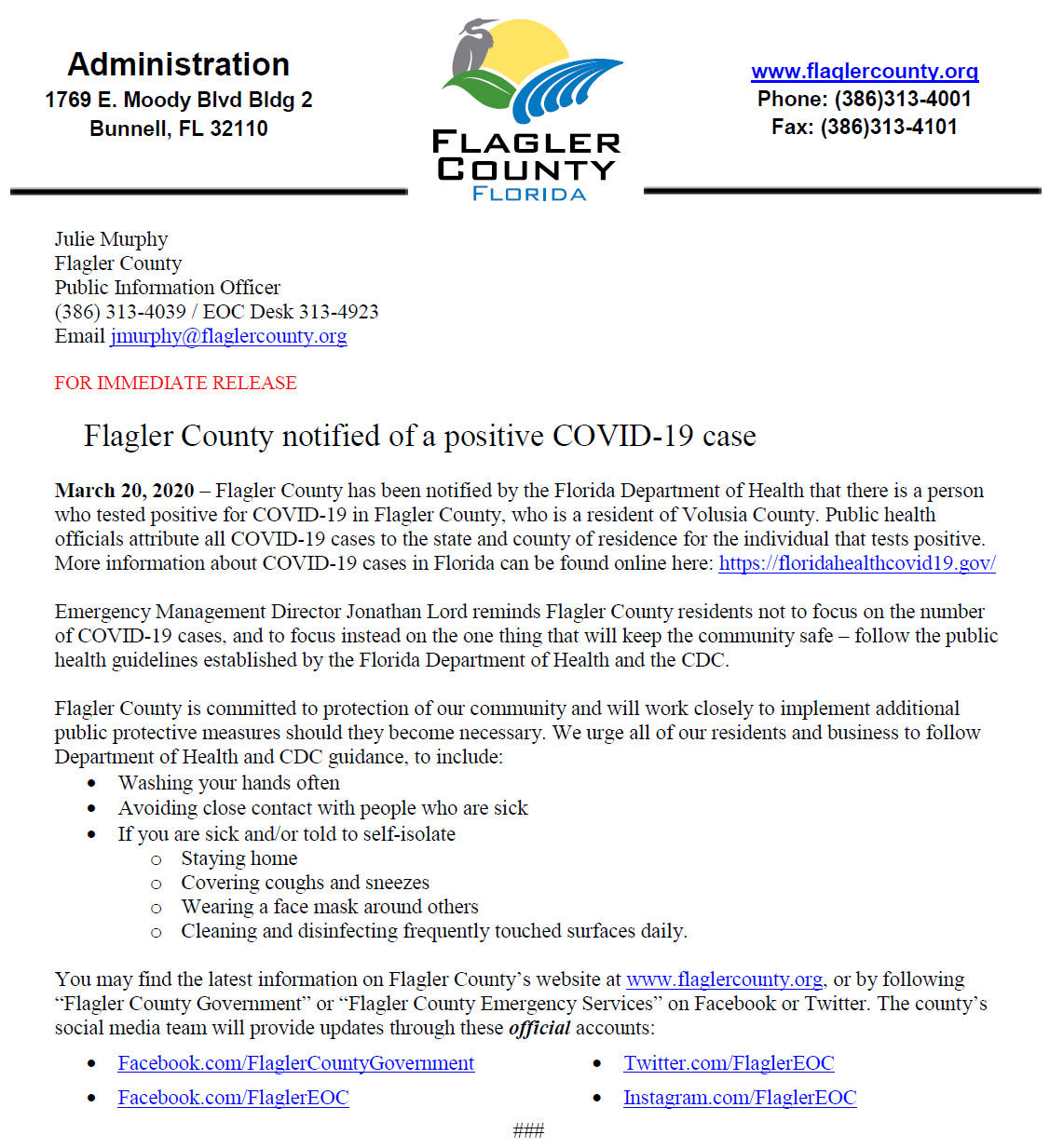 Flagler County notified of a positive COVID-19 case