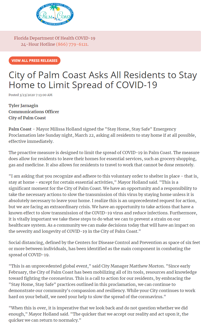 "Palm Coast Mayor Issues ""Stay Home"" Voluntary Order"