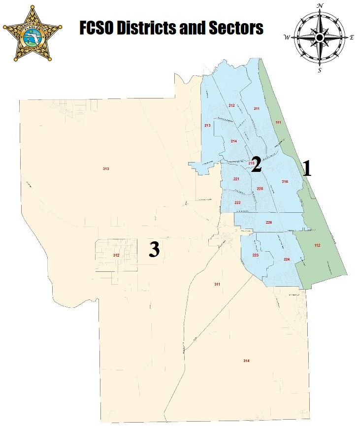 Map of FCSO Districts and Sectors