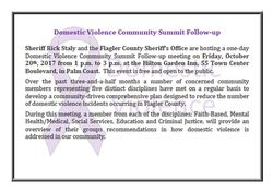 Domestic Violence Summit Follow-Up