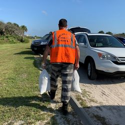 Flagler Sheriff's Inmate Work Crew Fills Sandbags for Residents in Preparation for Hurricane Dorian